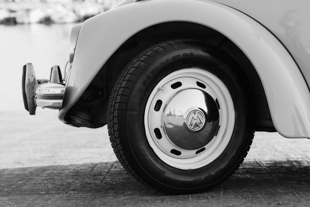 Black and white image of Volkswagen tire